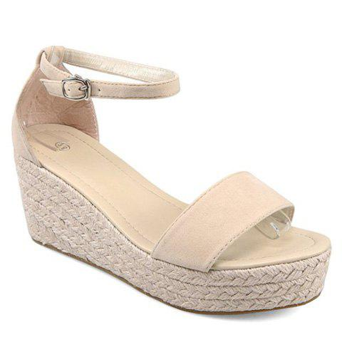New Fashionable Wedge Heel and Suede Design Sandals For Women - 36 OFF-WHITE Mobile
