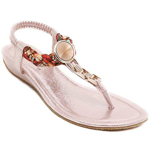 Online Bohemian T Strap Low Wedge Sandals PINK 38
