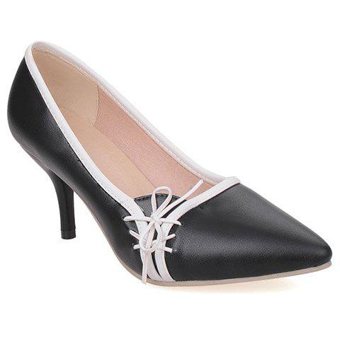 Hot Ladylike Pointed Toe and Cross Straps Design Pumps For Women - 36 BLACK Mobile