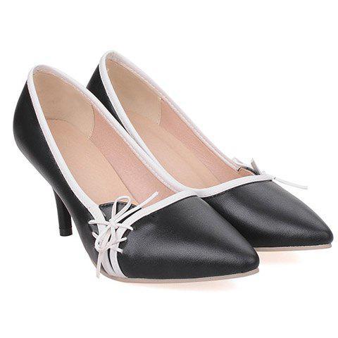 Outfits Ladylike Pointed Toe and Cross Straps Design Pumps For Women - 36 BLACK Mobile