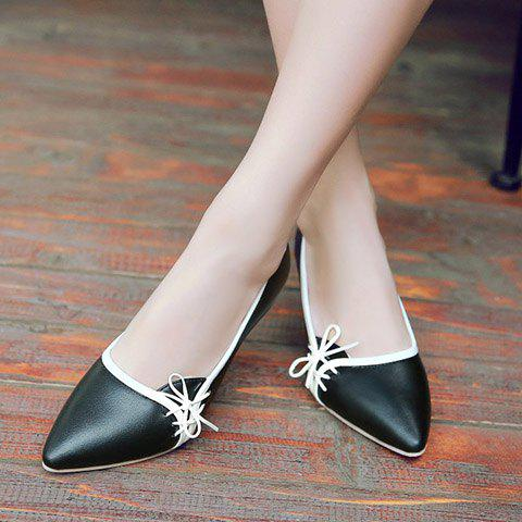 Outfits Ladylike Pointed Toe and Cross Straps Design Pumps For Women - 38 BLACK Mobile