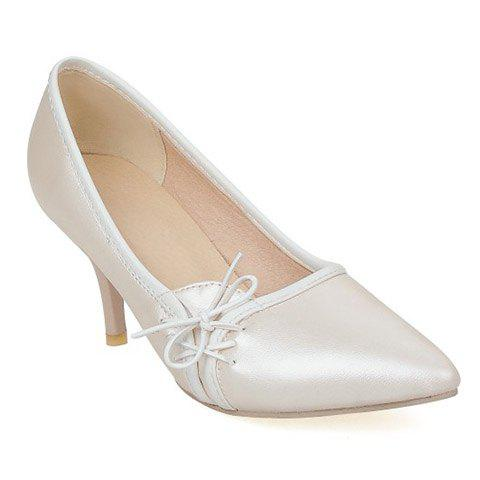 Ladylike Pointed Toe and Cross Straps Design Pumps For Women - Off-white - 38