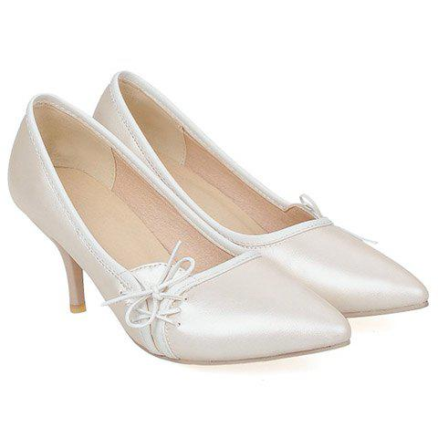 Affordable Ladylike Pointed Toe and Cross Straps Design Pumps For Women - 38 OFF-WHITE Mobile