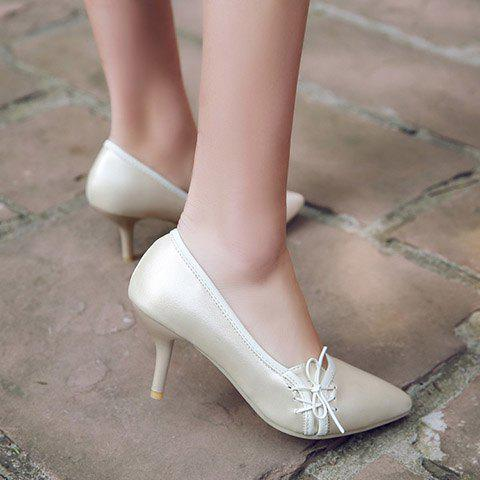 Latest Ladylike Pointed Toe and Cross Straps Design Pumps For Women - 38 OFF-WHITE Mobile