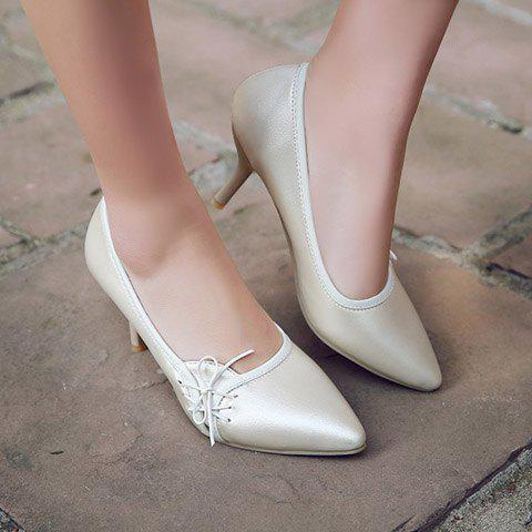 Chic Ladylike Pointed Toe and Cross Straps Design Pumps For Women - 38 OFF-WHITE Mobile
