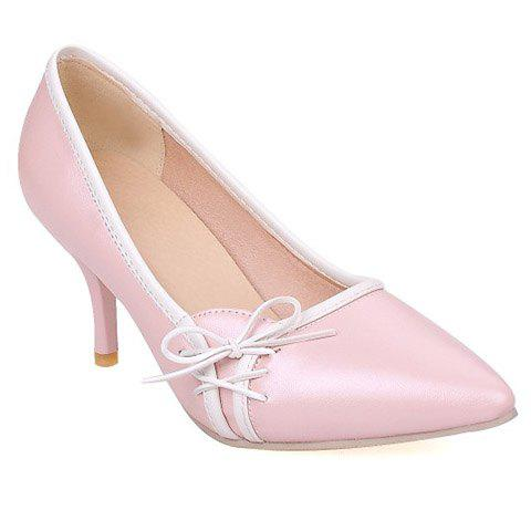 New Ladylike Pointed Toe and Cross Straps Design Pumps For Women - 36 PINK Mobile