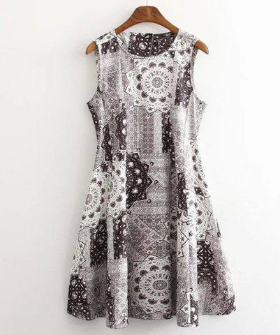 Fancy Vintage Round Neck Sleeveless  Printed Women's Dress