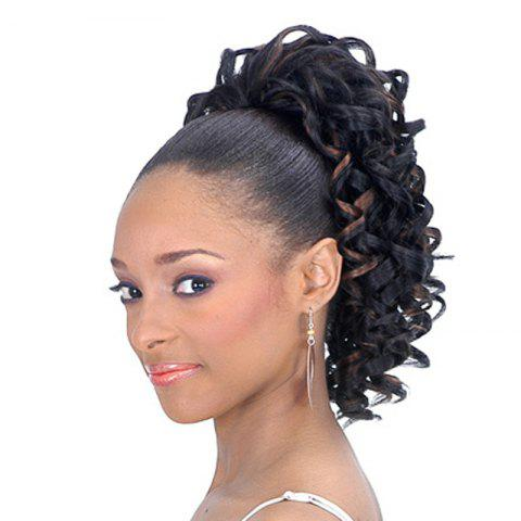 Best Stylish Black Mixed Brown Synthetic Fluffy Curly Short Drawstring Ponytail For Women
