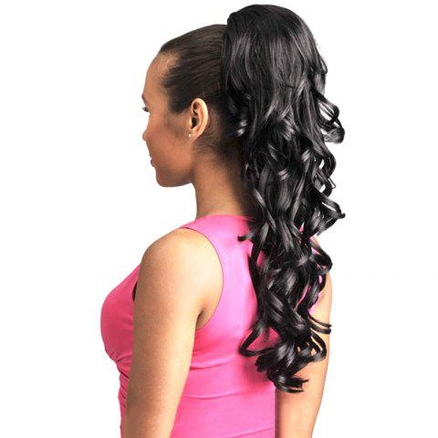 Buy Charming Long Black Shaggy Wavy Heat Resistant Synthetic Ponytail For Women