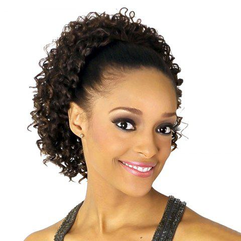 Hot Fluffy Short Curly Fashion Dark Brown Heat Resistant Fiber Ponytail For Women