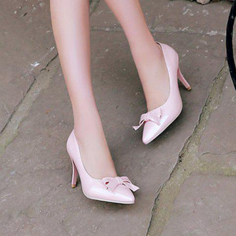 Hot Ladylike Patent Leather and Bow Design Pumps For Women - 34 PINK Mobile