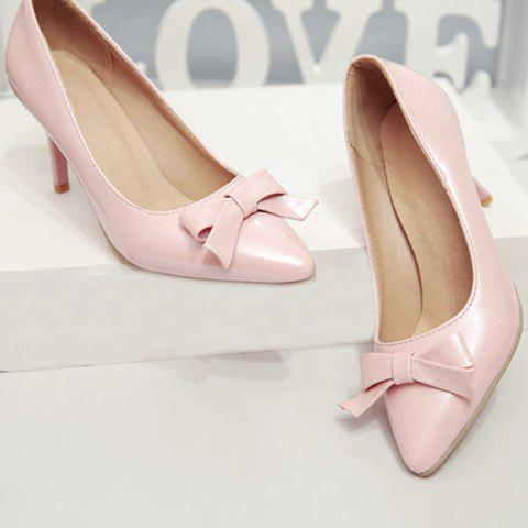 Outfits Ladylike Patent Leather and Bow Design Pumps For Women - 34 PINK Mobile