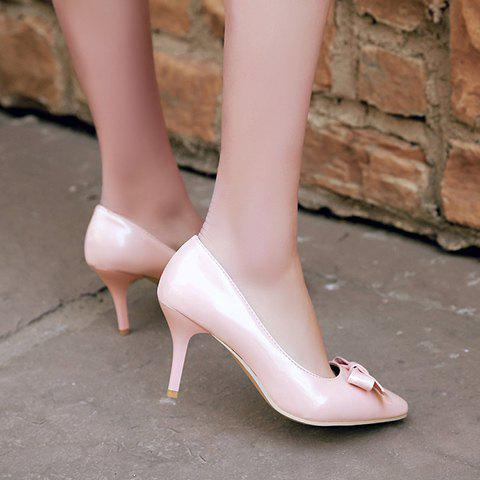 Discount Ladylike Patent Leather and Bow Design Pumps For Women - 34 PINK Mobile