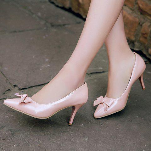Fashion Ladylike Patent Leather and Bow Design Pumps For Women - 34 PINK Mobile