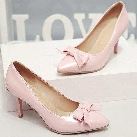 New Ladylike Patent Leather and Bow Design Pumps For Women - 34 PINK Mobile