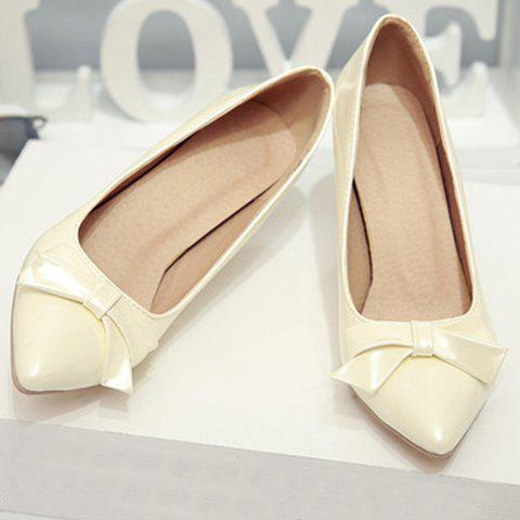 Discount Ladylike Patent Leather and Bow Design Pumps For Women - 34 OFF-WHITE Mobile