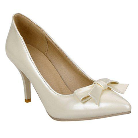 Store Ladylike Patent Leather and Bow Design Pumps For Women - 34 OFF-WHITE Mobile