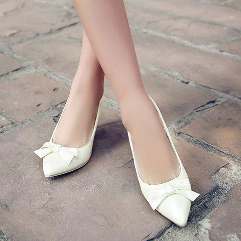 Buy Ladylike Patent Leather and Bow Design Pumps For Women - 34 OFF-WHITE Mobile