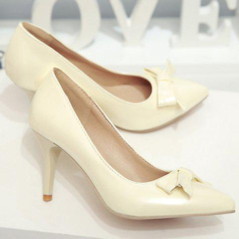 Outfits Ladylike Patent Leather and Bow Design Pumps For Women - 34 OFF-WHITE Mobile