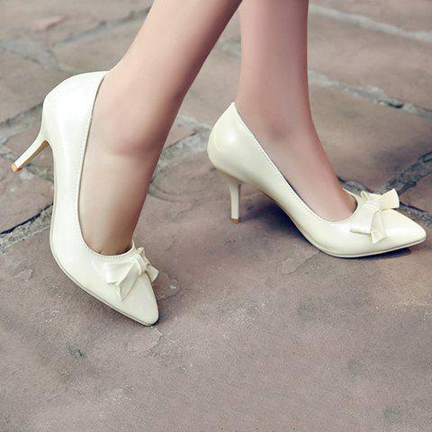 Unique Ladylike Patent Leather and Bow Design Pumps For Women - 34 OFF-WHITE Mobile