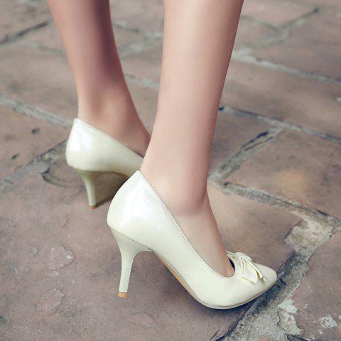 Online Ladylike Patent Leather and Bow Design Pumps For Women - 34 OFF-WHITE Mobile