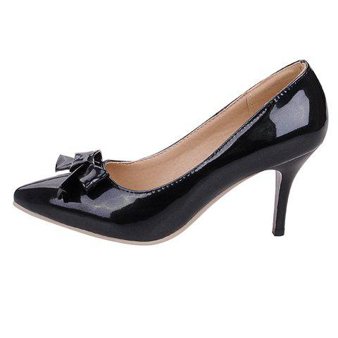 Chic Ladylike Patent Leather and Bow Design Pumps For Women - 39 BLACK Mobile