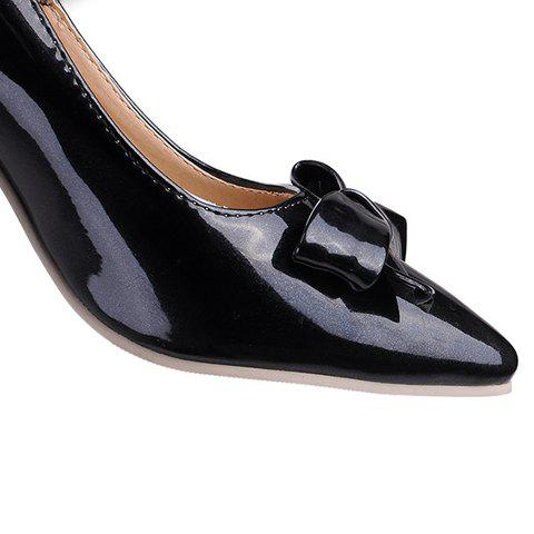 New Ladylike Patent Leather and Bow Design Pumps For Women - 39 BLACK Mobile