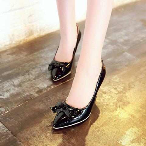 Outfits Ladylike Patent Leather and Bow Design Pumps For Women - 39 BLACK Mobile