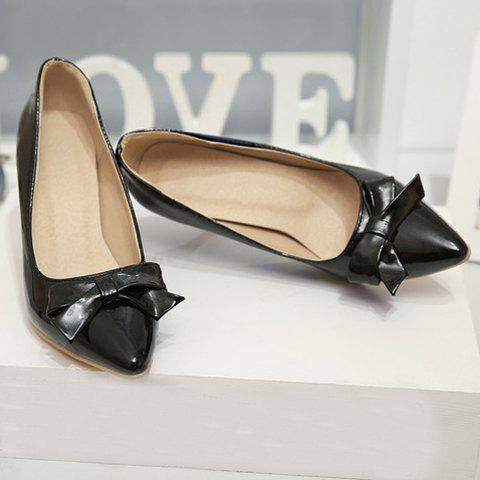 Cheap Ladylike Patent Leather and Bow Design Pumps For Women - 39 BLACK Mobile