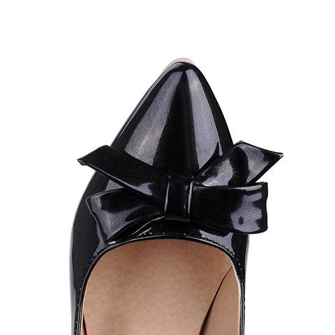 Affordable Ladylike Patent Leather and Bow Design Pumps For Women - 39 BLACK Mobile