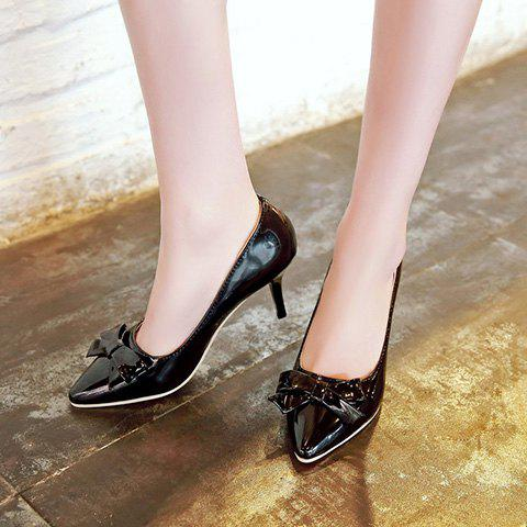 Fancy Ladylike Patent Leather and Bow Design Pumps For Women - 39 BLACK Mobile