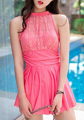 Online Chic Halter Sleeveless Lace Spliced Hollow Out Pleated Women's Swimwear