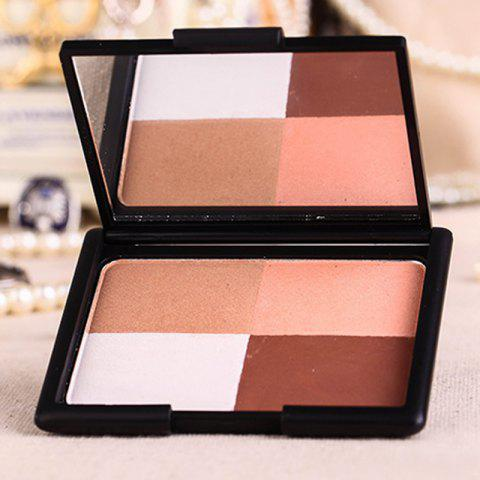 Outfit Stylish 4 Colours Highlight Bright Shadow Pressed Powder Palette with Mirror