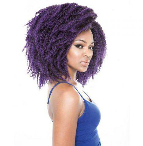 Outfit 3PCS Stunning Short Heat Resistant Fiber Shaggy Afro Curly Braiding Hair Extension For Women - PURPLE  Mobile