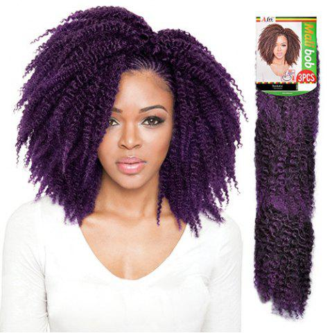 Online 3PCS Stunning Short Heat Resistant Fiber Shaggy Afro Curly Braiding Hair Extension For Women - BLACK AND PURPLE  Mobile