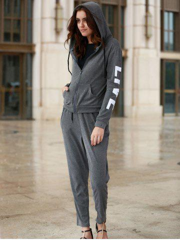 Online Chic Hooded Long Sleeve Letter Print Hoodie + Pants Women's Twinset