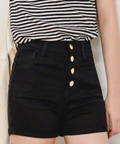 Store Stylish High Waist Solid Color Shorts For Women