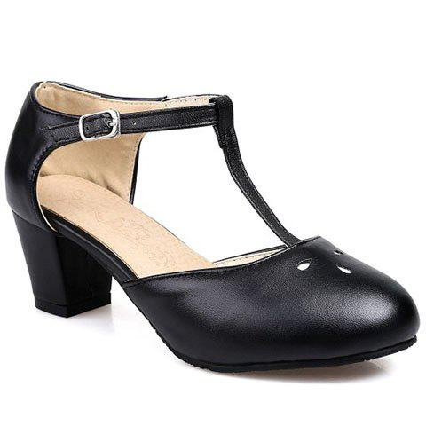 Fancy Preppy Style T-Strap and PU Leather Design Pumps For Women