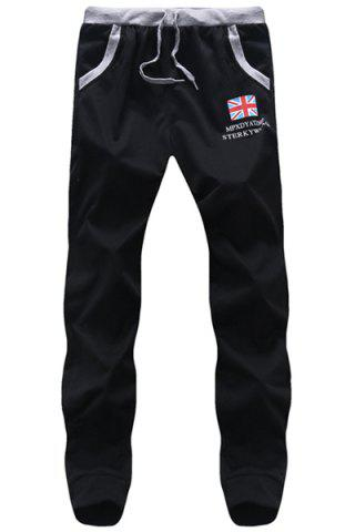 Sale Lace Up Flag Printed Long Sports Pants For Men