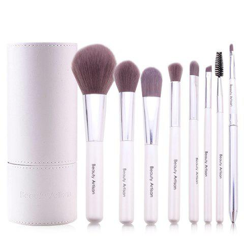 Fancy Stylish 8 Pcs Soft Bamboo Fiber Makeup Brushes Set with PU Brush Holder