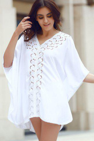 Online Stylish V-Neck Embroidery Hollow Out Cover Up For Women