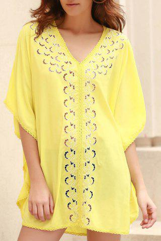 Latest Stylish V-Neck Embroidery Hollow Out Cover Up For Women
