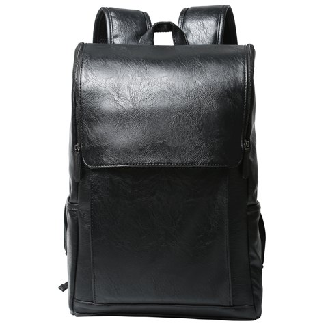 Fashion Casual PU Leather and Solid Color Design Backpack For Men BLACK