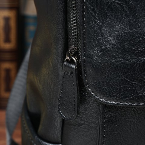 Chic Casual PU Leather and Solid Color Design Backpack For Men - BLACK  Mobile