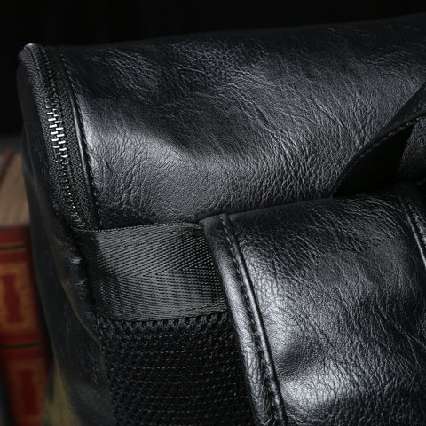 Outfit Casual PU Leather and Solid Color Design Backpack For Men - BLACK  Mobile
