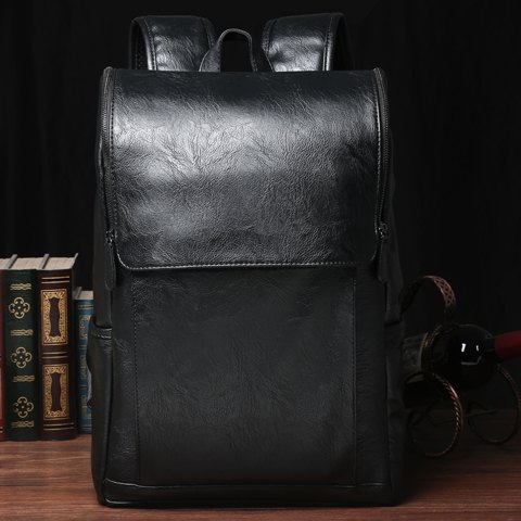 Shops Casual PU Leather and Solid Color Design Backpack For Men - BLACK  Mobile
