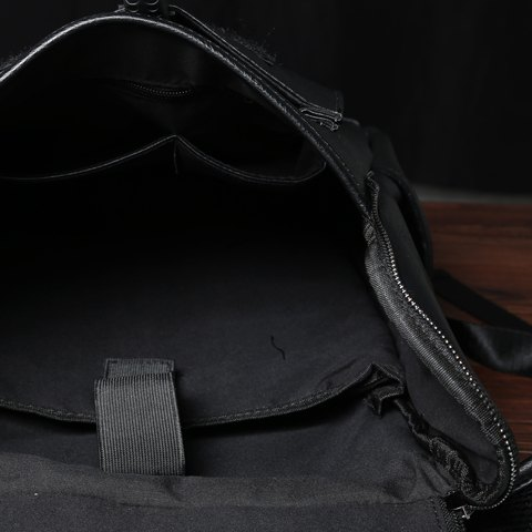 Affordable Casual PU Leather and Solid Color Design Backpack For Men - BLACK  Mobile