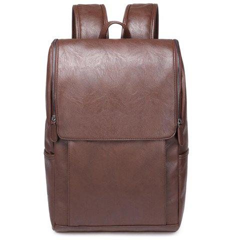 New Casual PU Leather and Solid Color Design Backpack For Men