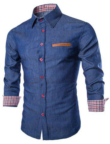 Online Stylish Shirt Collar Color Block PU Leather Pocket Hemming Slimming Long Sleeve Denim Shirt For Men DEEP BLUE M
