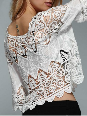 Stylish Round Neck 3/4 Sleeve Hollow Out Solid Color Blouse For Women - White - One Size(fit Size Xs To M)